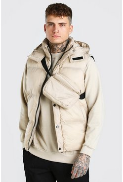 Stone beige 2 In 1 Hooded Gilet With Detachable Cross Body Bag