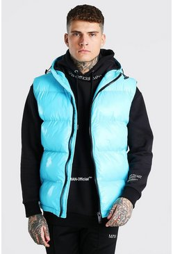 Aqua blue High Shine 4 Pocket Wet Look Gilet