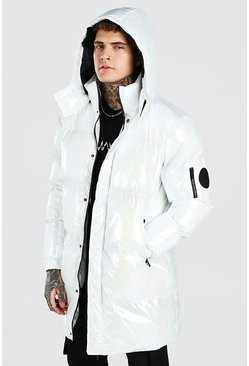 White Iridescent Hooded Longline Puffer