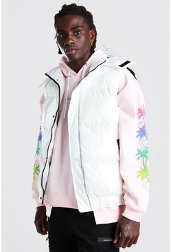 White Iridescent Hooded Gilet