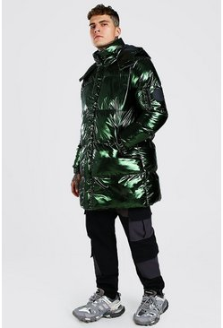 Green Iridescent Hooded Longline Puffer