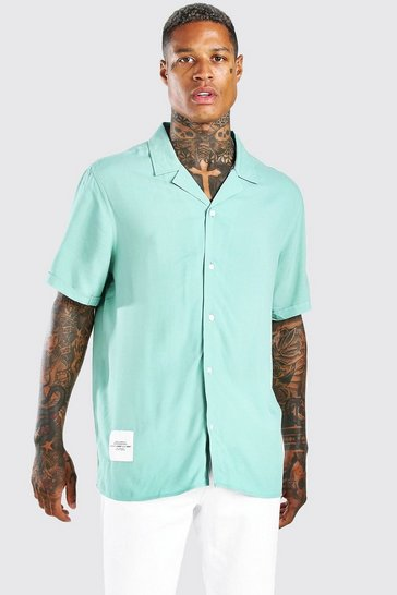 Sage MAN Tab Oversized Revere Collar Shirt