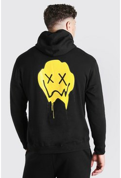 Black Big And Tall Drip Face Back Print Hoodie