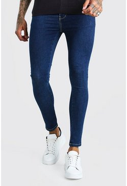 Dark blue blue Spray On Skinny Jeans