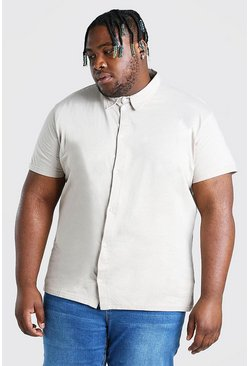 Ecru white Plus Size Basic Short Sleeve Jersey Shirt