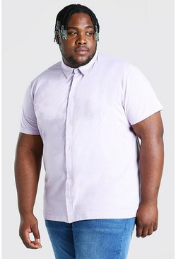 Lilac purple Plus Size Basic Short Sleeve Jersey Shirt
