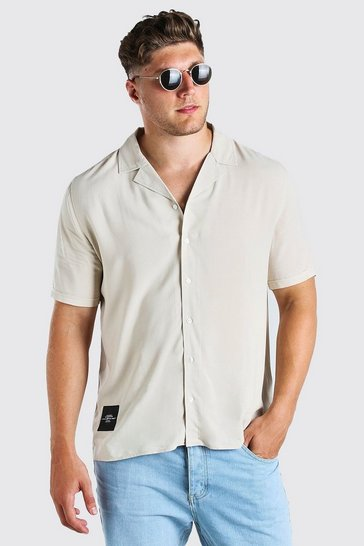 Ecru white Big And Tall Revere Shirt With Woven Tab