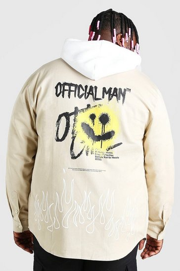 Stone beige Big And Tall MAN Graffiti Back Print Overshirt