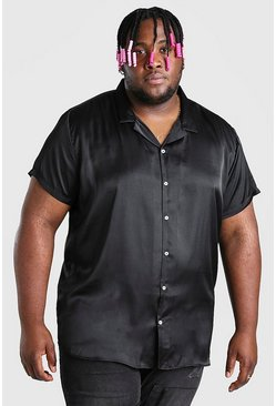 Black Plus Size Satin Shirt With Revere Collar