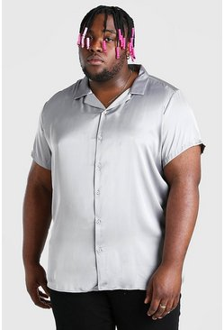 Camisa de satén con cuello de solapa Big And Tall, Charcoal gris