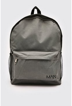 Grey Nylon Backpack With MAN Print