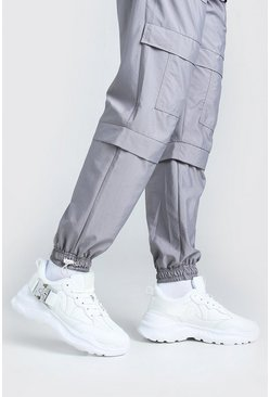 White Man Chunky Sneakers With Buckle Strap