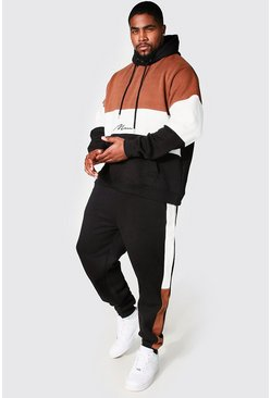 Black svart Plus Size MAN Colour Block Tracksuit