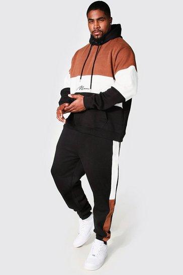Black Plus Size MAN Colour Block Tracksuit
