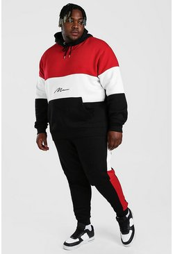 Red Plus Size MAN Colour Block Tracksuit