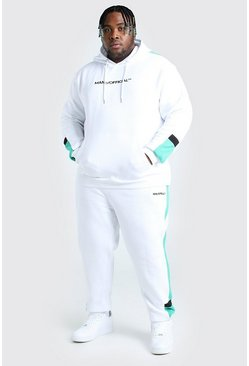White Plus Size MAN Colour Block Tracksuit