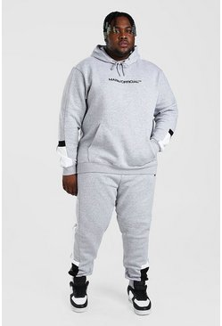 Grey grå Plus Size MAN Colour Block Tracksuit