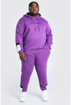 Purple Big And Tall MAN Colour Block Tracksuit