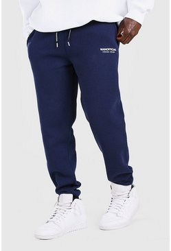 Navy marinblå MAN Official Elastic Waistband Slim Fit Jogger