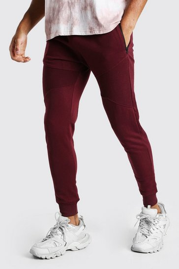 Burgundy red Skinny Fit Panelled Jogger With Side Zips