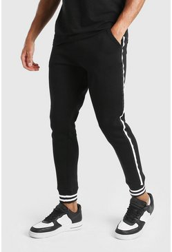 Black Skinny Fit Jogger With Side Tape