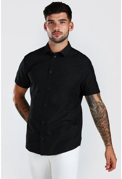 Black Regular Fit Short Sleeve Shirt