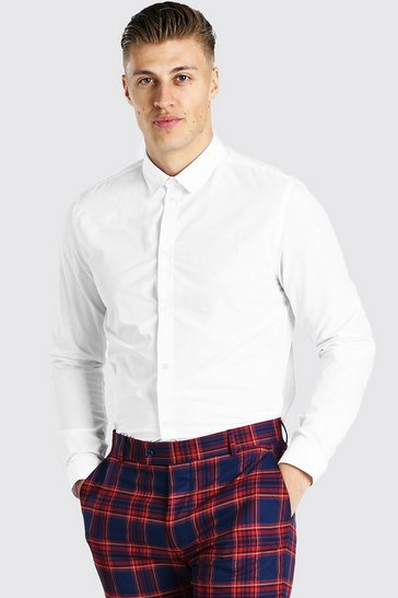 White Regular Fit Long Sleeve Shirt