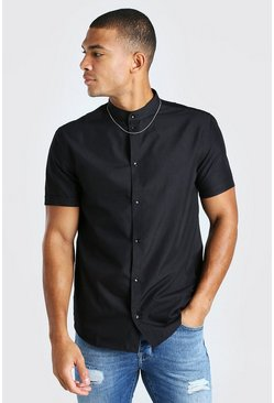 Black Grandad Collar Regular Fit Short Sleeve Shirt