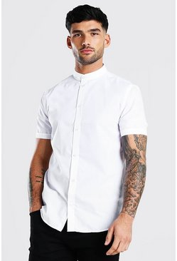 White Grandad Collar Regular Fit Short Sleeve Shirt