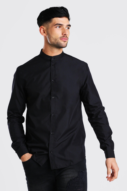 Men's Shirts Grandad Collar Regular Fit Long Sleeve Shirt
