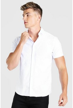 Wit white Muscle fit shirt met korte mouwen