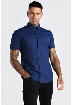 Marineblauw navy Muscle fit shirt met korte mouwen
