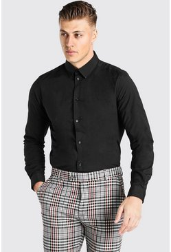 Black Slim Fit Long Sleeve Shirt