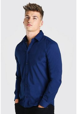 Navy Slim Fit Long Sleeve Shirt