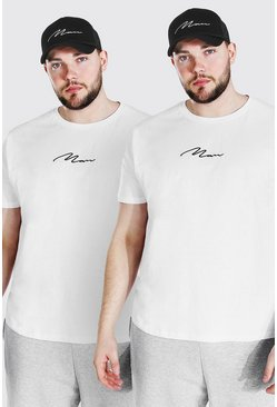 White Plus Size 2 Pack MAN Script T-Shirt