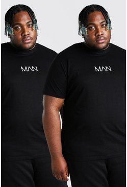 Black Plus Size 2 Pack MAN Dash T-Shirt