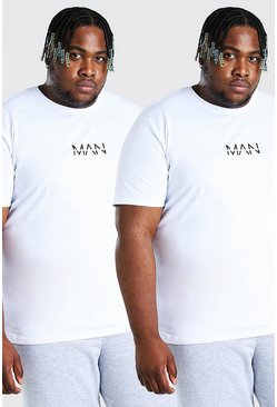 White Plus Size 2 Pack MAN Dash T-Shirt