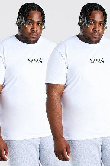 White Plus Size 2 Pack MAN Dash T-Shirt