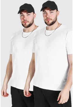 White Plus Size 2 Pack Basic Crew Neck T-Shirt