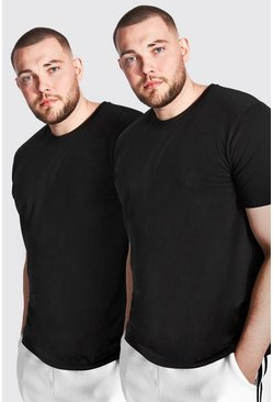 Black Plus Size 2 Pack Longline Basic T-Shirt