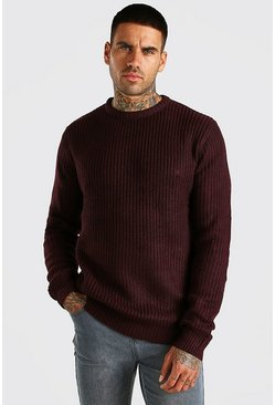 Oxblood red Crew Neck Fisherman Rib Jumper