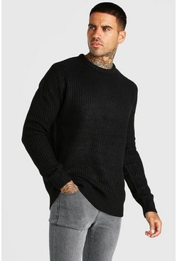 Black Crew Neck Fisherman Rib Sweater