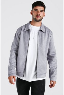 Grey Faux Suede Harrington Jacket