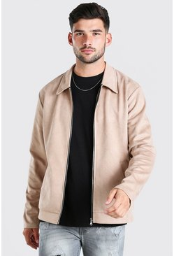 Stone Faux Suede Unlined Harrington Jacket