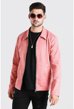 Pink Faux Suede Unlined Harrington Jacket