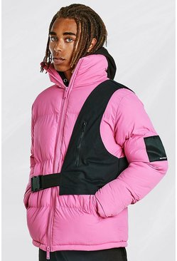 Pink Contrast Utility Detail Puffer