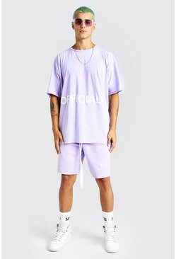 Lilac purple Oversized Official Applique T-Shirt & Short Set