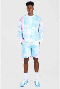 Turquoise blue Oversized Official Tie Dye Short Tracksuit