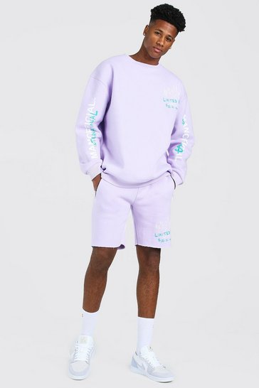 Lilac purple Oversized Graffiti Print Short Sweater Tracksuit