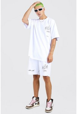 White vit Oversized Graffiti Print T-Shirt & Short Set